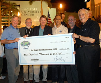 From left: Steve Stock, president of Guy Harvey Inc. and the GHOF; Ken Ullberg, renowned wildlife sculptor; Dr. Guy Harvey, renowned artist, co-founder of the GHRI and Chairman of the Board of Directors of the GHOF; Mahmood Shivji, Ph.D., Oceanographic Center professor and director of the GHRI; Richard Dodge, Ph.D., Oceanographic Center dean; and Ray Ferrero Jr., president of NSU.