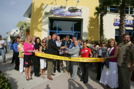 The Guy Harvey team cuts the ribbon to officially open the Guy Harvey's Island Grill in Panama City Beach, FL on April 16th.