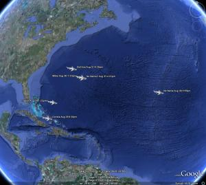Using data from the SPOT tags, the locations of the tiger sharks are plotted shortly after being tagged. The SPOT tag data shows that the tiger sharks quickly left the Challenger Bank area off Bermuda for open ocean.
